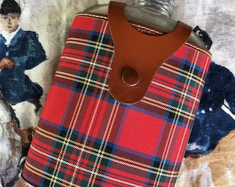 Vintage Plaid Flask with Real Hide Leather Trim, Made in England, Bar to-go, Whiskey, Bourbon, Gin, Vodka, English, Tartan