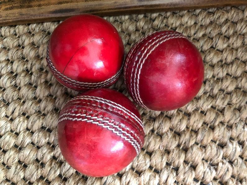 Set Of 3 Vintage Cricket Balls Red Leather Cricket Balls Vintage Sporting Goods Vintage Collection Handmade English English Decor