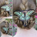 Moth Spanish Luna Hair Barrette in Vegan Leather