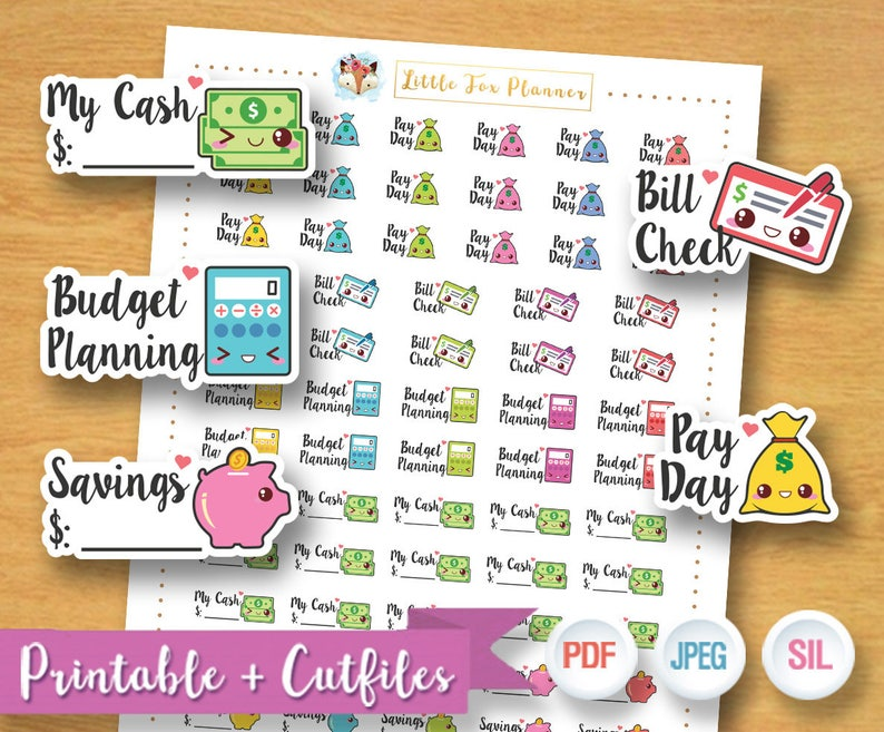 Finance Stickers Budget Planning Stickers Bill Check Sticker image 0