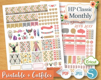 SWEET AZTEC Monthly Planner Stickers Pack Digital Planner Kit Sticker Plan Teepee Tent Monthly Set Printable Mambi Classic Happy Planner