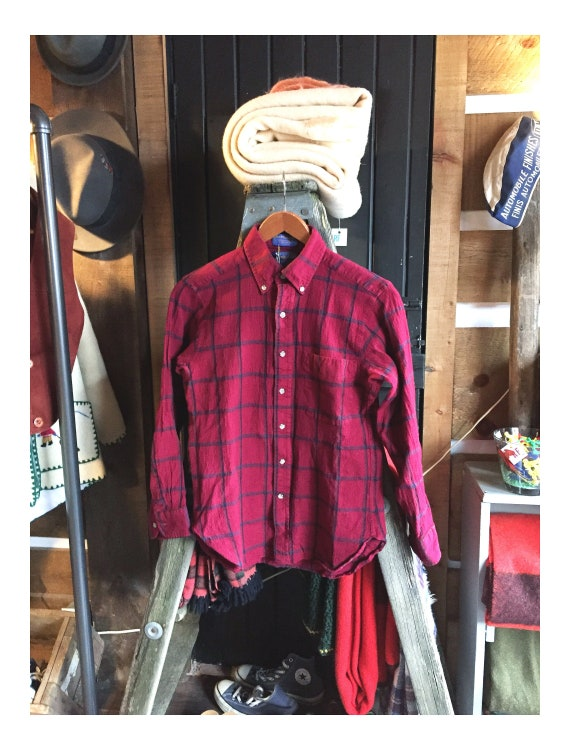 Vintage 90s Pendleton Wool Shirt, Plaid Button-Dow