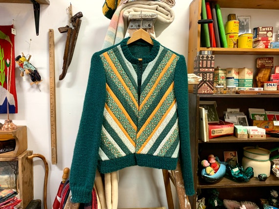 Vintage Quilted Sweater, Dark Green Knit, Quilt St