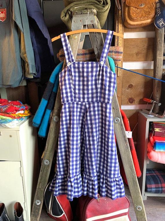 Beautiful Vintage Blue and White Gingham Prairie Dress Cottagecore Aesthetics Lace-up Checkered Sleeveless Milkmaid Dress