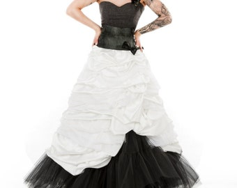 Beautiful A Line Wedding Dress with Removable Skirt and Recycled Tire and Stud Detail