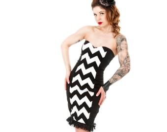 Reversible Chevron Pinup Pencil dress