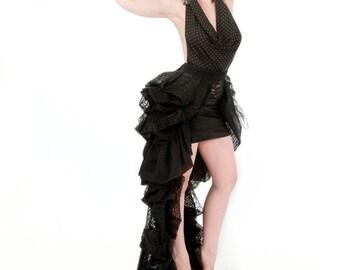 Black Lace Bustle Wrap Skirt