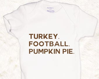 Turkey Football Pumpkin Pie Baby Boys Onesie Bodysuit Toddler Boys Tee Thanksgiving shirt cute baby clothes brown