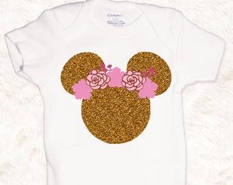 Disney Shirt / Glitter Minnie Shirt / Disneyland Shirt / Disney shirt for girls / Minnie mouse shirt / disney Onesie