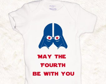 May the fourth be with you fourth of july star wars darth vader baby boys onesie kids toddler shirt red white blue patriotic