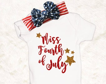 Miss Fourth of July baby girl 4th of July outfit fringe cover up dress onesie bodysuit toddler shirt first 4th of July red gold glitter