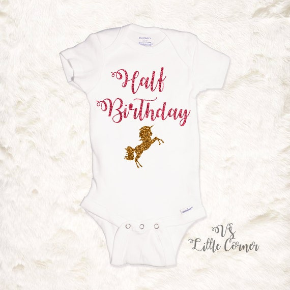 15b28e73b Half Birthday Unicorn Onesie or Toddler Shirt / 1/2 bday / | Etsy