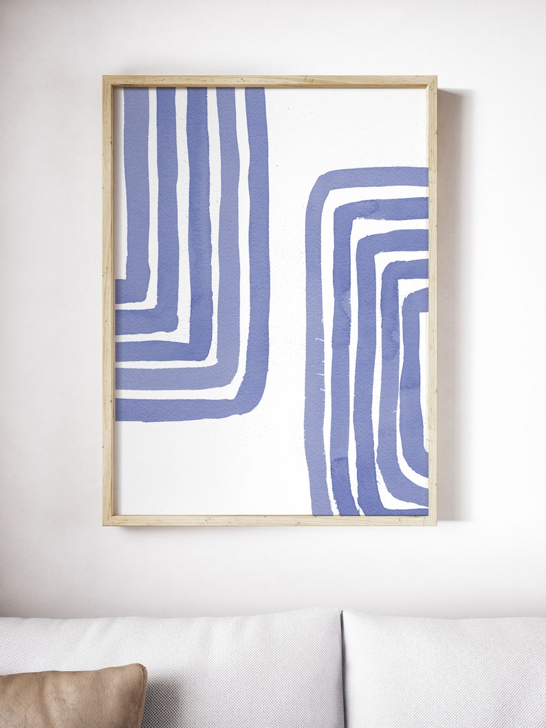 Large Abstract Art Blue Line Art Abstract Watercolor Mid Century Minimalist Blue Print Abstract Print Painting Scandinavian Watercolour art