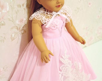 Princess dress (pink) made to fit like American girl doll clothes, 18 Inches doll ball gown