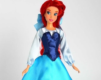 Ariel inspired dress (Blue) #2 fits 11.5 inches or 17 inches Dolls like Disney Princess Classic Dolls or Classic Singing Dolls.