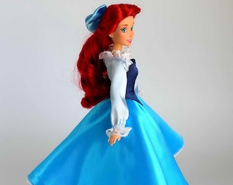 Ariel inspired dress (Blue)  fits 11.5 inches or 17 inches Dolls like Disney Princess Classic Dolls or Classic Singing Dolls.