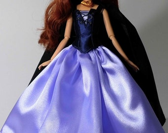 Vanessa inspired outfit with cape fits 11.5 inches or 17 inches Dolls like Disney Princess Classic Dolls or Classic Singing Dolls.