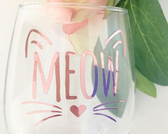 Meow Wine Glass-Rose Gold Foil- Cat Love Wine Glass- Gift For Car Lover-Cat Wine Glass-Kitty Glass-Crazy Cat Lady Wine Glass- Cute Cat Glass