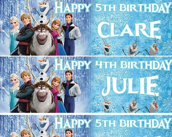 LARGE FROZEN BIRTHDAY BANNER POSTER WITH PHOTO ANY AGE TEXT PERSONALISATION etc