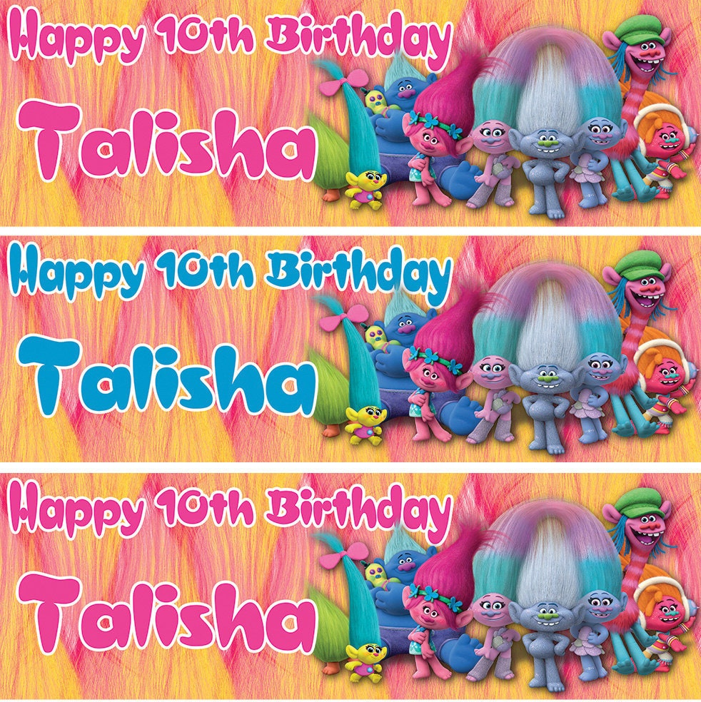 2 X Personalized Birthday Banner Trolls Party Balloon Kids