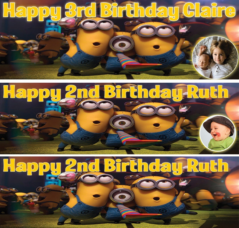 Personalized Birthday Banner Minions Party Balloon Photo