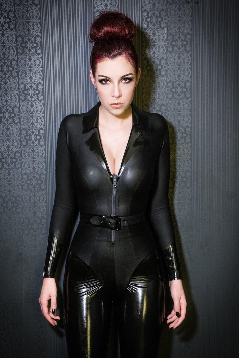 Matte Latex Uniform Bodysuit with Belt