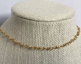 Gold Beaded Gold Chain Choker