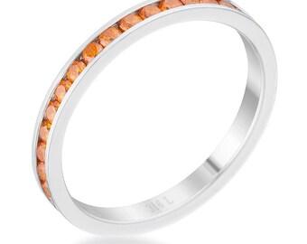 Orange Ring Orange Jewelry Set of 5 Super Thin Orange Silver Stackable Rings Thin Orange Ring Orange Stacking Rings Stack Rings