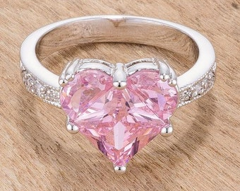 cf5729d16 Sweetheart Pink Crystal Ring, Pink Silver Ring, Heart Shaped Ring, Romantic  Ring, Ring For Her, Valentine Ring, Promise Ring, Pink Crystal