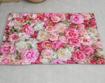 Pink Roses Rug, Pink Floral Rug, Floral Rug, Pink Area Rug, Hot Pink Bedroom Rug, Flowers Rug, Floral Pattern Rug, Pink Area Rugs, Roses