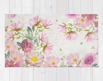 Flowers drawing etsy pink floral watercolor rug pink flowers drawing rug pink floral rug blush pink area rug floral nursery rug botanical rug bedroom rugs mightylinksfo