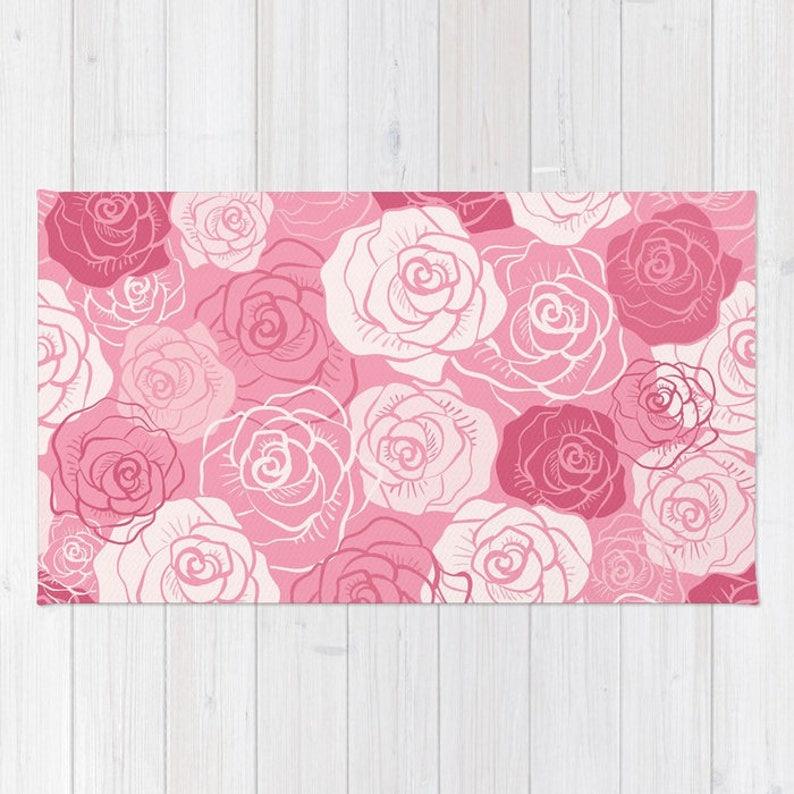 Rosa Rosen-Teppich rosa Blumen Teppich rosa Schlafzimmer | Etsy