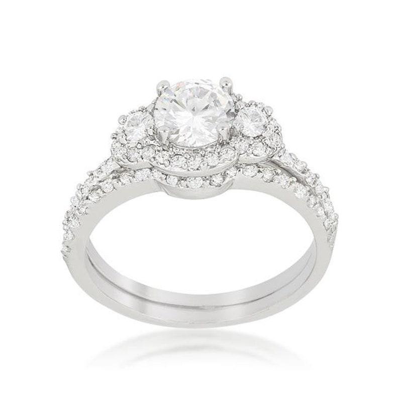 Fancy Crystal Wedding Set Gorgeous Ring Feminine Ring Elegant Bridal Set Classic Silver Wedding Ring Timeless Ring CZ Engagement Ring