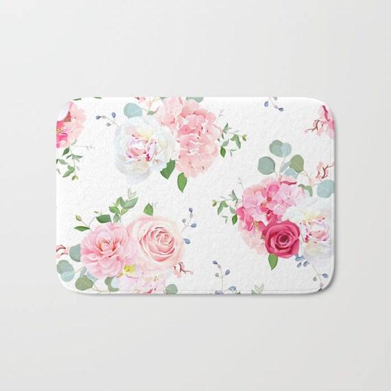 Rosa Blumen Badematte rosa Blumen Dusche Matte | Etsy