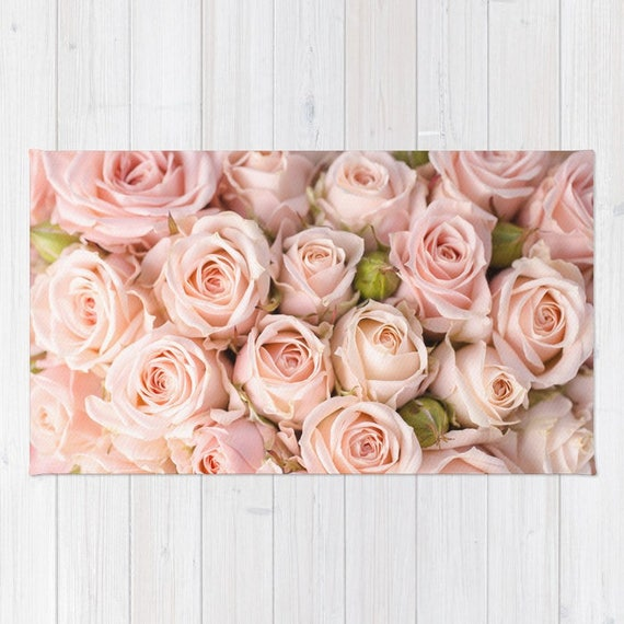 Blush roses area rug floral rectangular rug light pink area etsy image 0 mightylinksfo