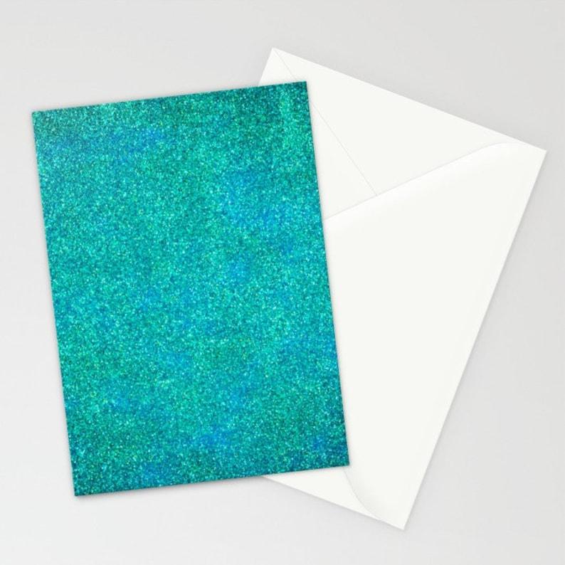 Turquoise Glitter Stationery Blank Stationery Set Blue Card Mermaid Stationery Set Blue Stationery Set Blue Glitter Thank You Cards