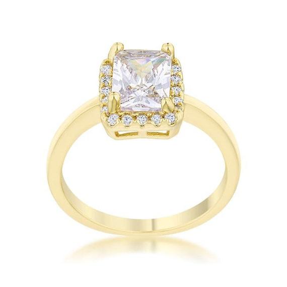 Zarte 14 k Gold Classic Ring, schöne Gold Kristall Ring, Gelbgold Ring, zierliche Gold Ring, zeitlose Gold Ring, Gold Kristall Ring
