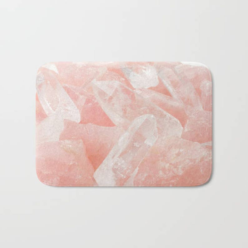 cc12af1037 Blush Pink Rose Quartz Bath Mat, Pink Bath Mat, Pretty College Dorm Bath  Mat, Pink Bathroom Decor, Zen Bath Mat, Pink Rose Quartz Crystal