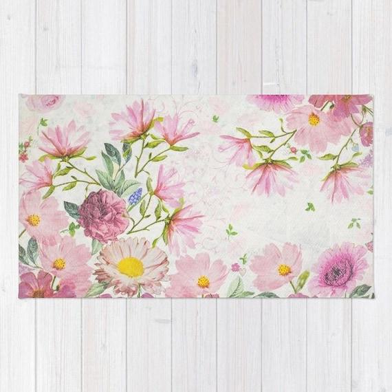 Pink floral watercolor rug pink flowers drawing rug pink etsy image 0 mightylinksfo