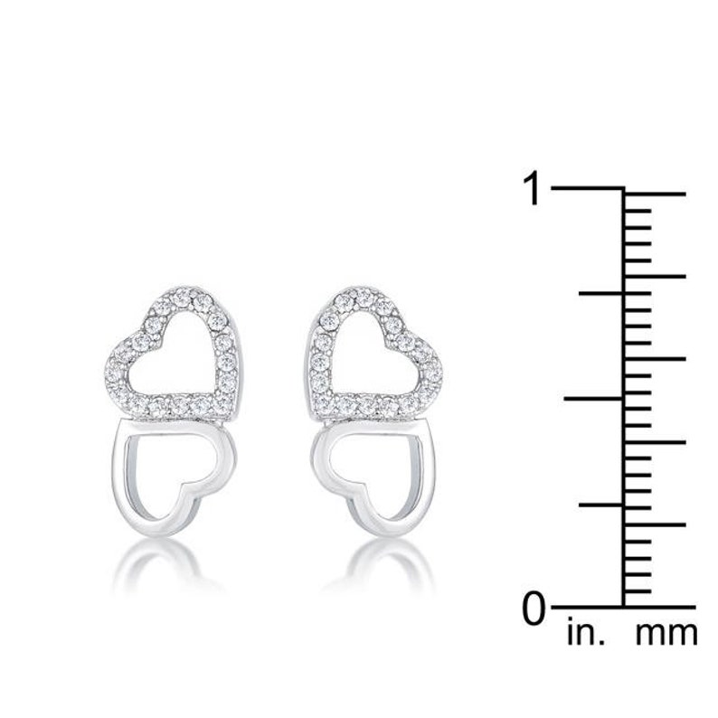Melded Hearts Rhodium and CZ Stud Earrings Open Elegant Heart Earrings Heart Stud Earrings Crystal Heart Earrings Silver Heart Earrings