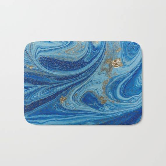 Blau Gold Abstrakte Badematte Navy Blau Dusche Matte Blau Etsy