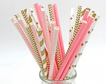 Pink or gold striped paper drinking straws kids birthday wedding decorative party decoration event supplies