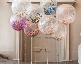 Giant Clear Confetti Balloons | Birthday Balloons | Wedding Balloons | Baby Shower | New Years Balloons
