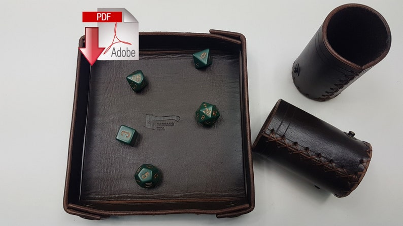 Dice Scroll Pattern Modular rollable dice tray with two dice cups and dice storage