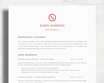 cv template creative resume template two page professional etsy