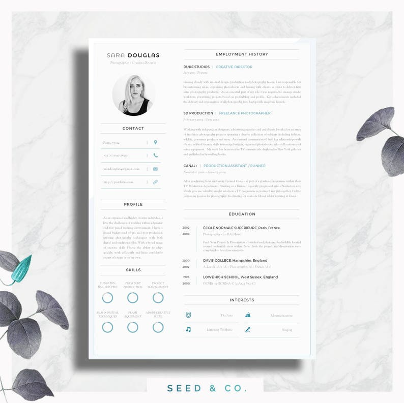 Modern Resume Template Single Page Cover
