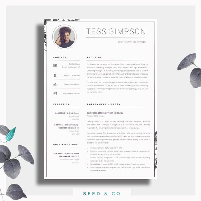 CV Template Creative Resume Template Two Page Professional | Etsy