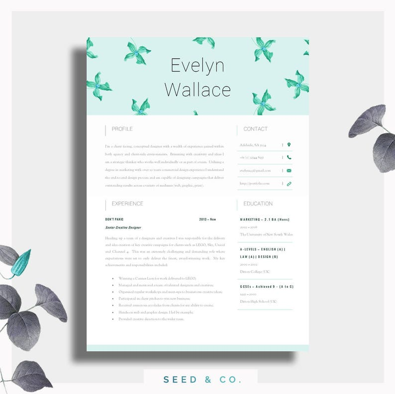 Beautiful Resume Template Two Page CV Cover Letter