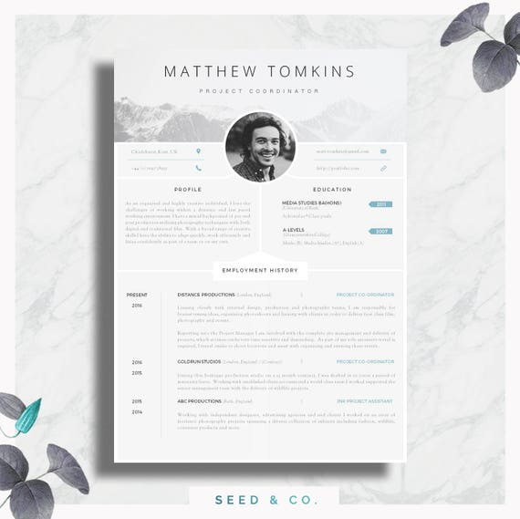 cv template creative resume template modern cv cover etsy