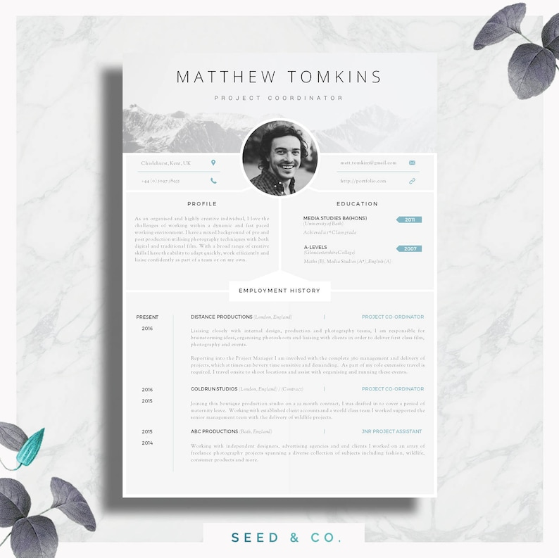 CV Template Creative Resume Modern Cover